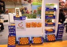 The stand of Eurotas Fruit. They deal in oranges and other citrus.