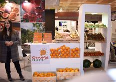 Eleni Konstantinou, who was just welcoming a new guest to their stand. She is the Managing Director of Orange Valleys, a company that as their name suggests, exports oranges from Greece.