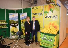 Koukoulis Athanasios and the hostess for the company Zamara from Argentina. They export lemons and were meeting existing clients at Freskon.