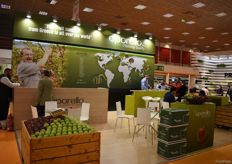 The stand of Oporello, who export Greek apples. A recently new found market for these apples is India.
