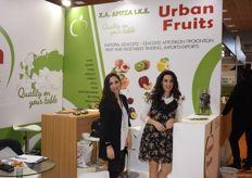 The sisters Angela and Christina Dritsa, representing their family company Urban Fruits. They deal in kiwis, peaches, nectarines, cherries and many other fruits.