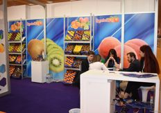 The stand of Karabelas where Konstantinos Karabelas is in a meeting with his clients.