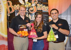The team of Bee Sweet Citrus proudly shows Gold Nugget mandarins, Cara Cara oranges and lemons. From left to right: Anders Skooglund, Monique Bienvenue and Marcus Marderosian.