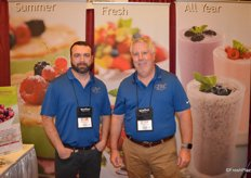 Jaysen Weidner and Doug Perkins with HBF talk to customers about the company's specialty berry programs, including currants, cranberries and kiwiberries.