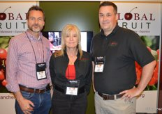 The team of Global Fruit talks to show attendees about Canadian cherries. From left to right: Richard Isaacs, Laurel Angebrandt and Andre Bailey. Richard just joined the team and moved from the UK to Canada.