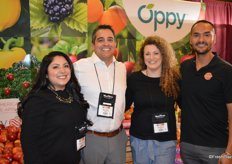 Smiles in the Oppy booth: Ambar Rodriguez, Ben Vallejo, Kori Martin and James Galindo.