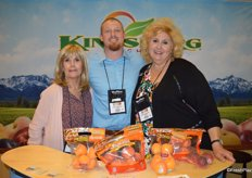 Jeanette Slattery, Patrick Eubanks and Marlene Majarian with Kingsburg Orchards brought new harvest apricots and peaches to the show. Nectarine harvest is also starting up.