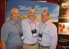 John Vlahandreas and Manny Carvajal with Wada Farms get a visit from George Nunez with Olympic Fruit and Vegetable.