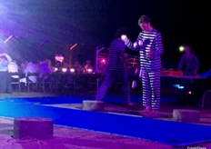"Entertainment at the Australian Mango Conference Gala Dinner event included acrobatics with a ""prisoner"" theme."