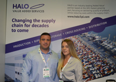 Wayne Milne and Ophelia Wells at the Halo stand.