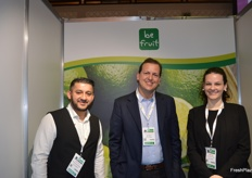 Smiles all round at BE Fruits, the company export limes from Brazil. Hamez Sethi, Liuz Eduardo Raffaelli and Kati Santos.