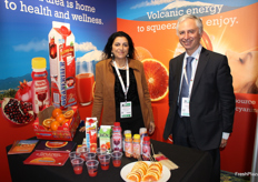 Sara Grasso and Salvo Laudani, Oranfrizer sales export manager and marketing manager. The Italian company produces and distributes a full range of Sicilian citrus fruits, mainly red oranges.A 100% not-from-concentrate juice is also supplied by Oranfrizer Juice, complemented by the BIOR line of organic juices.