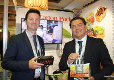 Massimiliano Persico and Massimo Bellotti, Canton Pack's head of strategic marketing and export sales manager. The Italian company is a food packaging solutions provider. One of its three business units is the production of packaging for the fruit and vegetable industry.