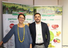 Rita Biserni and Matteo Tomasini from Alegra. The Italian Group counts Europe's leading retailers among its customers and main production crops are stone fruits, kiwifruit (gold and green), pears, apples, grapes, citrus and a wide range of vegetables.