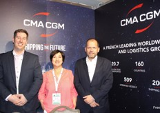 Martin Olverson (head of reefer UK), Alice Jones (reefer sales manager northern area) and Robert Waterman (chief executive officer) from CMA CGM UK. With a diverse fleet of 509 vessels, CMA CGM Group serves 420 commercial ports and operates more than 200 shipping lines.