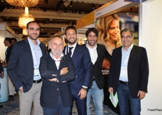 Italian managers (visitors and exhibitors) involved in the table grape sector. From left to right: Marco Tempesta (Avi Arra Europe), Carlo Lingua (Ceo AVI, RK Growers and RK Products), Graziano De Filippis and Antonio Giuliano (OP Giuliano), Maurizio Ventura (Licensing Manager Europe for SunWorld International).