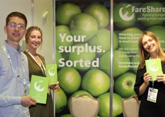 Jake Barwood (food coordination assistant), Lucy Cullen (marketing communications officer-food) and Elina Kanela (senior marketing and communications officer - food) from FareShare, trusted redistribution partner to major UK retailer, including Tesco, Asda, Co-op, Morrisons, Aldi and others.