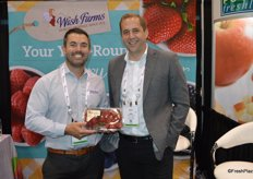 Marcus Caswell and James Peterson with Wish Farms proudly show California strawberries.