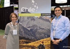 Allison Myers with Fruits from Chile and Rodrigo Cid, Trade Commissioner of Chile, promote Chilean fruit.
