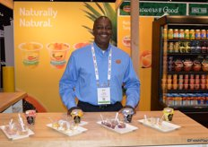 Tyson Billingsley with Del Monte Foods offered show attendees a sample of the companys new non-dairy fruit parfait. It comes in strawberry, mango, blueberry and pineapple taste.
