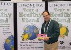 John Carter with Limoneira shows a pouch bag with Pink Lemons and proudly shows the companys One World of Citrus program.