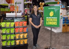 Diana Salsa with the Wonderful Company proudly stands next to the Seedless Lemons sign. Just this week, the company introduced its new Non-GMO seedless lemon program that has been years in the making.