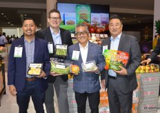 Fernando Sanchez, Lee Crenshaw, Kenny Kataoka and Parker Nishi with Melissa's proudly show a series of exotic items ranging from pre-cut jackfruit to diced cactus leaves, Kent mangos from Mexico, organic Cotton Candy grapes and Hatch Chile peppers.