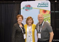 Karen Murphy, Gretchen Lane and Tim Grady with NatureSeal are seeing a lot of attention for the new retail pack that keeps fresh produce from browning.