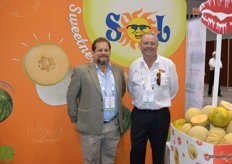 Rodolfo Arambulo and Ken Everett with Sol Group Marketing are talking to customers about the companys melon programs.