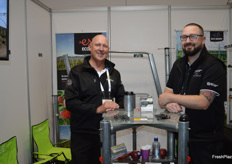 Terry Carter and Nathan Johnstone at the Eco Trellis stand.