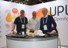 UPL Open Ag were sporting new branding seen for the first time at Hort Connections - Adam Upton - Upton Agronomy, Sebastian Leith and Ian Cass - UPL Open Ag.