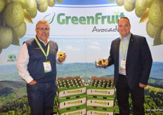 Dan Acevedo and Kraig Loomis with GreenFruit avocados. Kraig shows the company's 2 ct. box with avocados that is quality-extending.
