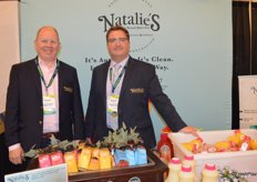 Michael D'Amato and Michael Ward with Natalie's Orchid Island Juice Company proudly show the company's new cold pressed juice line.