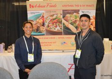 Maggie Flynn and Juan Reyes with House Foods had tofu products on display and offered tofu salads for show attendees.