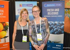 Karen Brux and Susan Hughes with the Chilean Fresh Fruit Association.