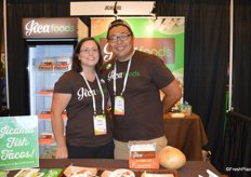 Melissa Colella-Wang and Xin Wang with JicaFoods prepare delicious jicama wraps for show attendees.