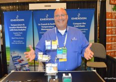 Jeffrey Cook with Emerson proudly shows different in-transit perishable temperature monitoring instruments.