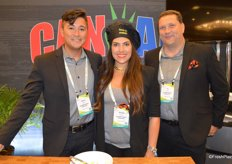 Donya Litowitz with Impasta Foods is flanked by Peter Mead and T.J. Bauer of Can Am Pepper Company.