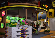 The Aksun stand. This Turkish exporter displayed a variety of fruits and their stand was visited frequently.