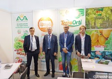 Collective booth of Italia Ortofrutta. In the picture: Davide Tolesano and Simone Bernardi for Lagnasco Group; Alessandro Tristano and Federico Nicodemo for Frutthera Growers.