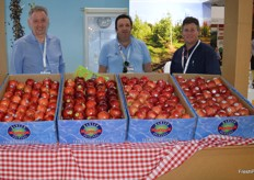 Fruit Growers Tasmania had a stand at the show - Phil Webley - Sino Acess, Tim Castle - Pinnacle Fine Foods, Sam Riggall pictured here with apples from Hansen's Orchards.