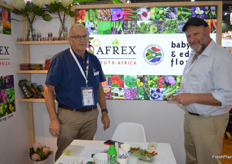 John Kowarsky and Etienne Taitz with their fantastic display of edible flowers.