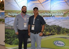 Bede Millar and Rajender Kumar from Cravo as one of the few greenhouse providers at the show they were kept very busy.