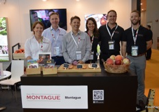 The team from Montague: Nicole Townsend, Gavin Wylie, Rowan Little, Jocelyn Montague, Scott Montague and Mark Bailey. Montague has huge range of stone fruits.