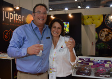 Mark Tweddle from Jupiter Marketing with Nomi Karnel-Padan from Grapa Varieties enjoying a drink at the end of a busy day.