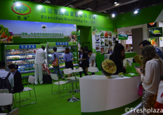 Busy times at the booth of Shenzhen Maoxiong Co., Ltd. They are a large producer of vegetables in China and export all yearround, mostly to South East Asian countries.