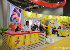 Busy times at the booth of Goodfarmer Foods Holding (Group) Limited Company. They are one of the leading banana importers and sellers in the Chinese market.