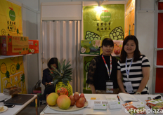 Claire Chung and Yan Wong from Pomina Enterprise Co., Ltd. They export different Taiwanese fruits, such as pineapple, wax apple, custard apples, mangoes and dragon fruit.