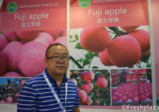 Mr. Liu Xueyue from Yantai Changhe Food Co., Ltd. They are specialised in growing and selling apples.