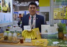 Mars Kuo from Gaoxiong Qi Shan Fruit and Vegetable Co-operative. Selling fresh and processed banana and pineapples from Taiwan.